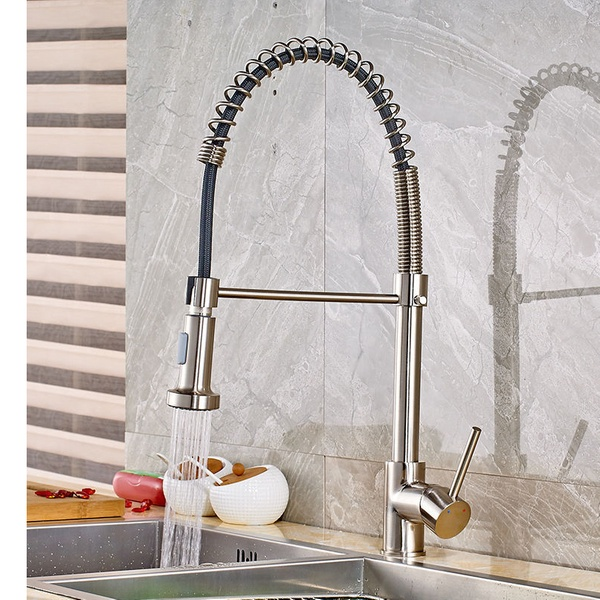 New Efficient Brushed Nickel Kitchen Sink Faucet Single Hole Bar
