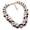 Short Design Crystal Imitation Pearl Black Beads Choker Necklace