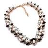 Crystal Imitation Short Design Pearl Black Beads Choker Necklace
