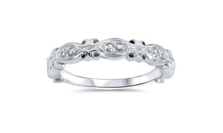 1/10 Ct Diamond Wedding Ring Stackable Anniversary Band 14K White Gold e19a88d8-8cb9-4eaa-a4e9-9840c8acb0f2
