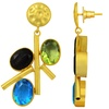 Yellow Gold Overlay 74.00 Carat Multi Color Glass Stone Earring
