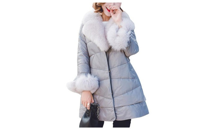 Women's Slim Fit Faux Fur Collar Buttons Up Casual Down Coat