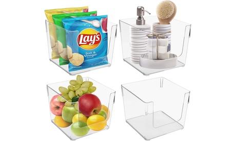 Clear Plastic Storage Organizer Container Bin Set for Kitchen Fridge & Pantry
