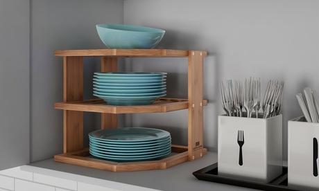 Lavish Home Bamboo Corner Shelf for Kitchen or Bathroom Cabinet