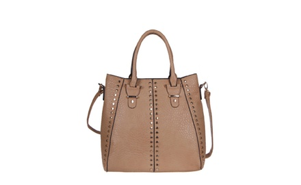 Designer Inspired Faux Leather Studded Handbag