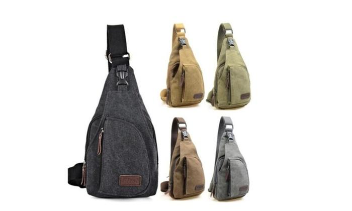 Neutral Canvas Chest Bag Outdoor Hiking Trip Cross Shoulder Purse Bag