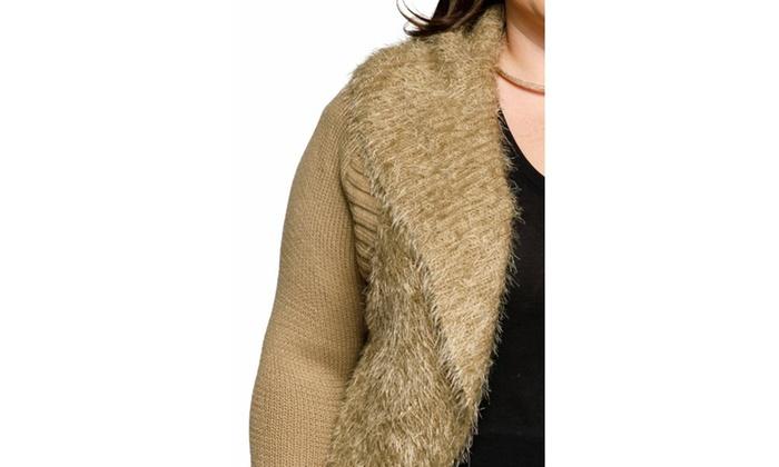 9cdb19468d24f ... Xehar Womens Plus Size Fuzzy Cocoon Contrast Trim Open Front Cardigan  Sweater