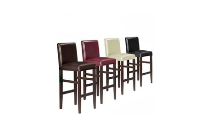 image for Kendall Contemporary Wood/Faux Leather Barstool