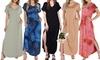 Doublju Women's V-Neck Short Sleeve Side Slit Maxi Dress with Pockets