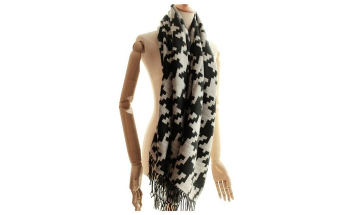 Women's Fashion Medium Long Length Casual Graphic Scarf - Black white / One Size