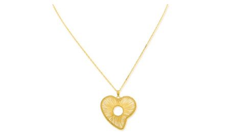 IceCarats Designer Jewelry 10K Fancy Open Heart Center Circle Pendant with 18 inch Gold Filled Chain