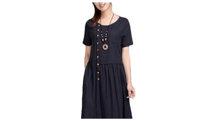 Women's Regular Fit Empire Waist Solid Crew Neck Dress