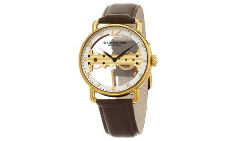 Stuhrling Original Men's Mechanical Skeletonized Genuine Leather Strap Watch 604d86b6-0f69-4da8-b9f0-c38db7bedd90