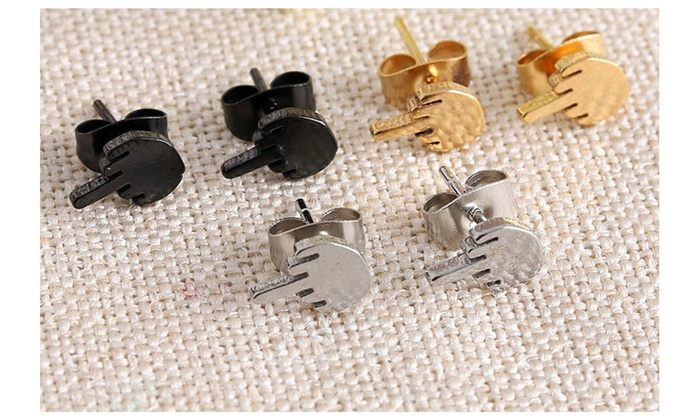 b138c2a57 1 Pair Unisex Middle Finger Earrings Stainless Steel Ear Studs | Groupon