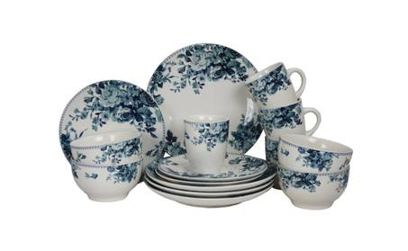 New Traditional Blue Rose 16 Piece Stoneware Dish Dinnerware Set