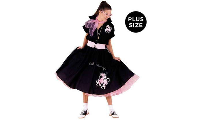 Complete Poodle Skirt Outfit Black and Pink Adult Plus Costume