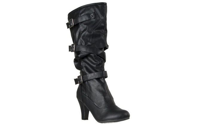 Riverberry Women's 'Verde' High Heel Strappy Fashion Boots, Black