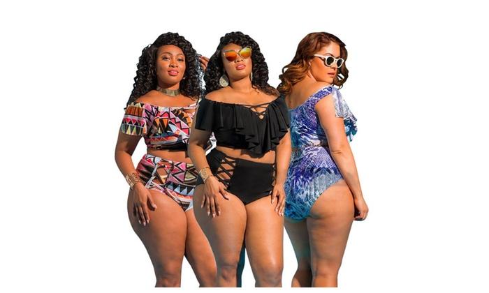 52704242734 Women Plus Size Off the Shoulder Ruffles High Waist Bikini Set ...