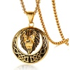 Punk Mens Stainless Steel Animal Lion Head Shape Pendant Necklace Gold