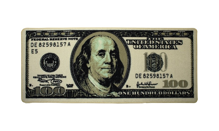 Benjamin Franklin Old 100 Bill Big Money Area Rug