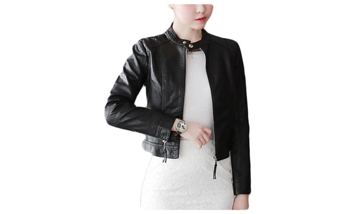 Women's Casual Simple Long Sleeve Faux Leather Jackets