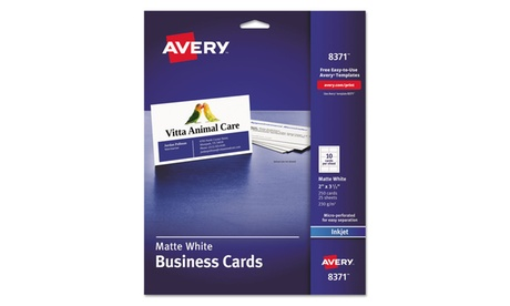 Avery Dennison Printable Microperf Business Cards, Inkjet, 2 X 3 1/2, 250/Pack