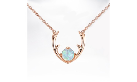 Oceanic Opal Antler Pendant Necklace in 14K Gold Plating - Two Options Was: $99.99 Now: $10.99.