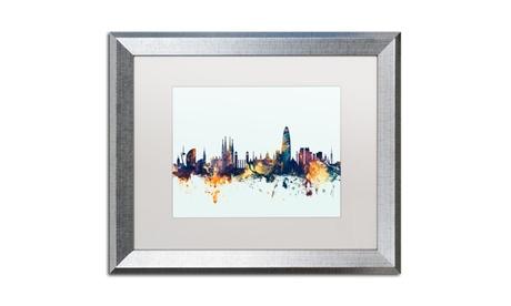 Michael Tompsett 'Barcelona Spain Skyline Blue' Silver Framed Art 20c26b31-6805-46d0-b45c-4a2d5ecc65b1