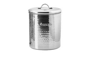Stainless Steel Hammered Cookie Jar with Fresh Seal Cover, 4 Quart