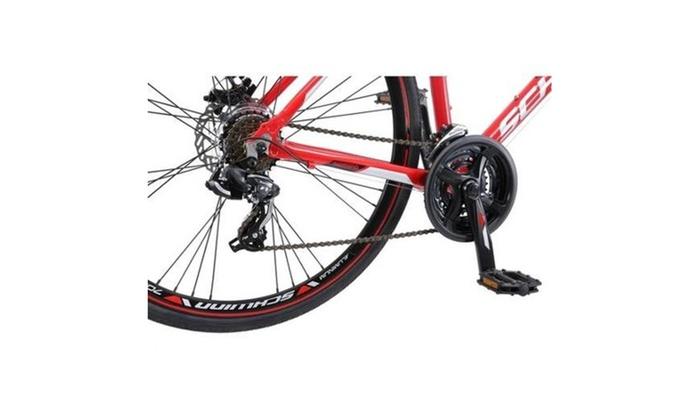 Hybrid Mens Mountain Bike 700c Schwinn Kempo 21 Speed Red Road Fitness Bicycle