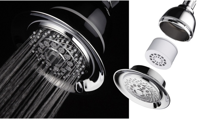 HotelSpa 4-Inch 6-Setting Functions Chrome Face Shower Head with 3-Stage Filter