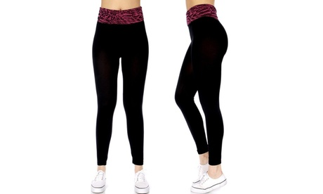 Abstract Horizontal Waist Band Cotton Leggings (One Size) 8a72c5ee-8f36-443f-82c0-40912e24a0b4
