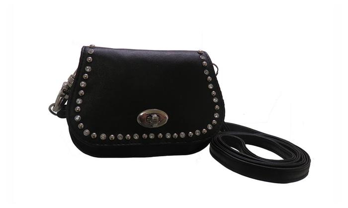 Black Leather Stud Rhinestone Clip Pouch W Detachable Strap