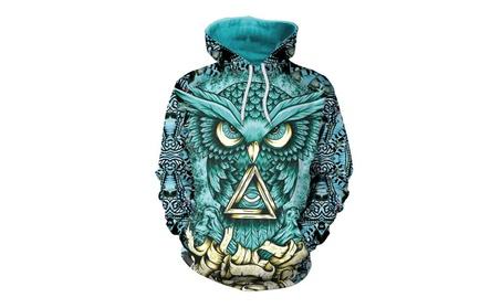 Womens Fashion Owl Geometric Totem Printing Loose Hoodies fe1e95b4-25b7-4dfe-a44a-39a056bfa832