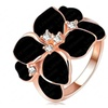 Austrian Crystal White Enamel Flower Ring for Women