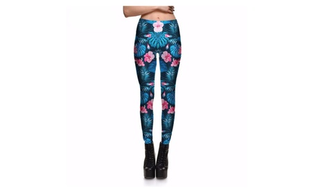 Tropical Pink Flowers Women's Leggings Printed Yoga Pants Workout 121ebbab-8c03-4ee2-a1dc-d474b0540823