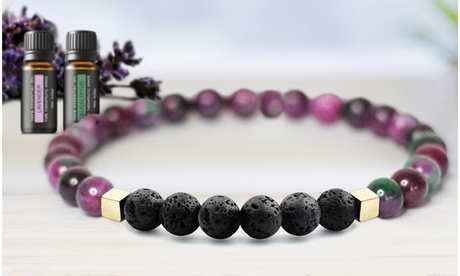 Mixed Lava Stone Chakra Diffuser Bracelet with Optional Essential Oils