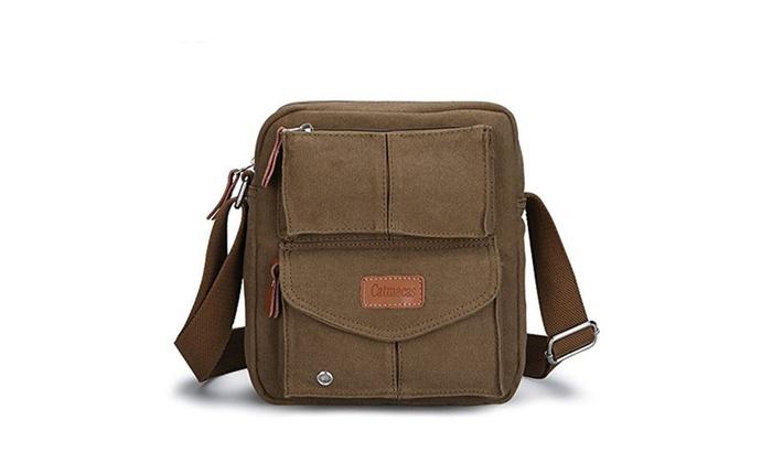 Vintage Durable Multi-pocket Shoulder Messenger Bag Satchel Crossbody