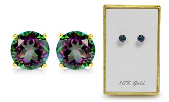 Solid 10K Gold 2CTW Rainbow Topaz Stud Earrings By MUIBLU Gems