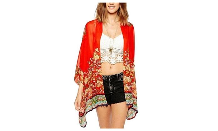5fd5685f6d64b Women's Floral Print Sheer Chiffon Loose Kimono Cardigan Capes | Groupon