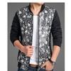 Men's Casual Wool Stand Collar Print Leather Splice Zip up Jacket