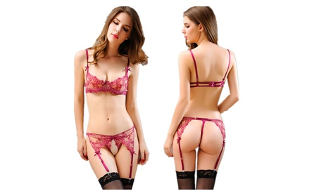Women Honeymoon Lingerie Sexy Lace Embroidery Semi-sheer Bra+Pant 52f60864-3623-42f2-9f96-13947879b710