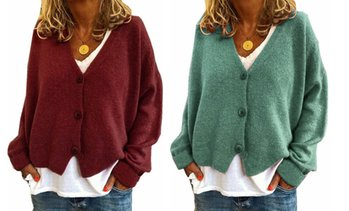 Women's 2020 V-neck Casual Loose Button Down Sweatshirts Cardigan Jacket