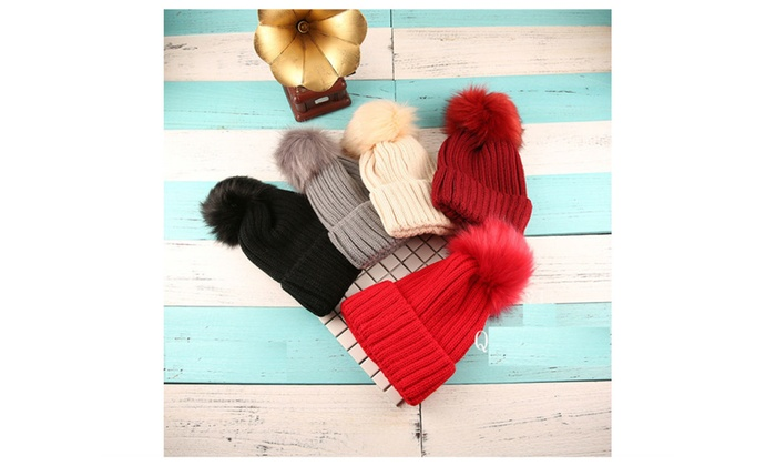 Big Furry Ball Woollen Knit Ski Cap Hat