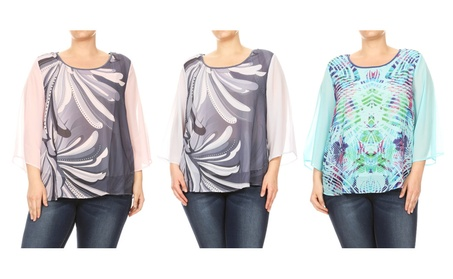 Women Plus Size Chiffon Abstract Design Solid Color Sleeve Top T-shirt e91413f2-3b17-4b6f-bbb8-86d9630517d4