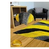 Yellow Leaf Design Dandelion Yellow Gray Taupe High Pile Shag Rug