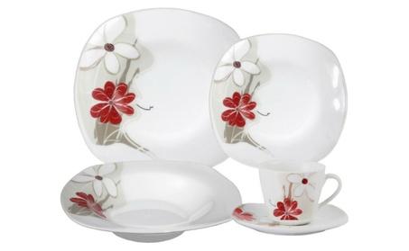 Porcelain 20 Piece Square Dinnerware Set, Service for 4