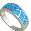 Fashion Blue Fire Opal Silver Stamped Rings for women