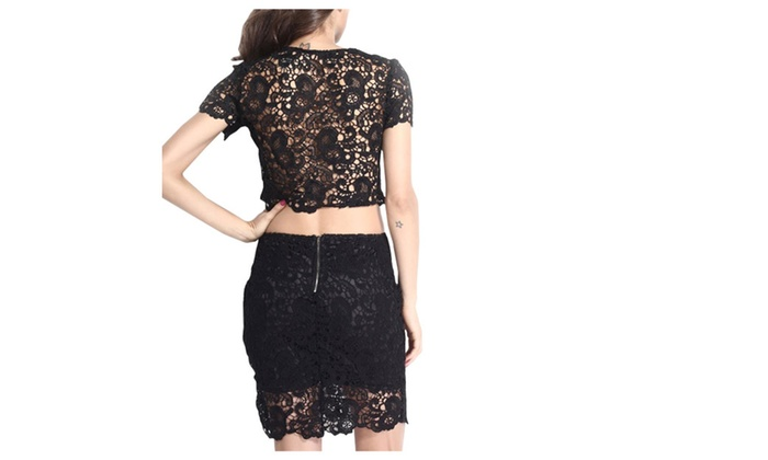 Women's Full Zip Crew Neck High-Rise Short Sleeve Dress