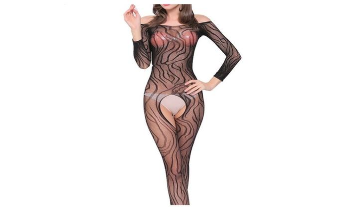 Zebra Stripes Fishnet Crotchless Sheer Full Body Pantyhose